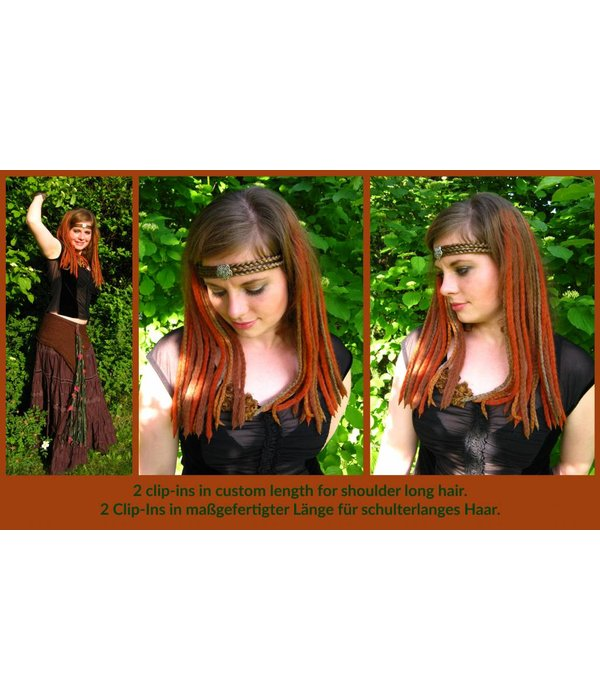 Goth Clip-In Dreads Vampirella, red-black