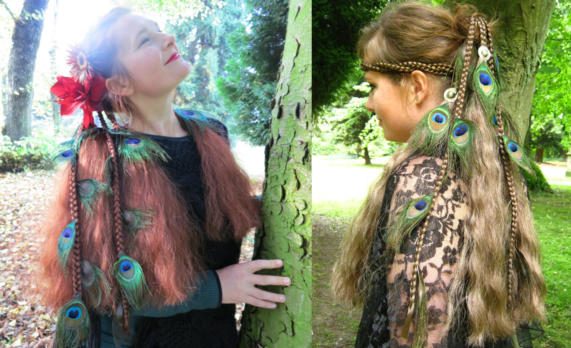 Magierin Fantasy Haarteile mit Pfauenfedern