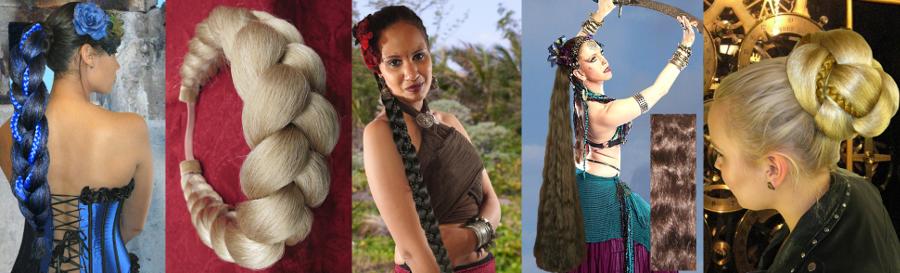 Ein paar Haarteile aus Kunsthaar im Sale zu Beginn der Rabattaktion.