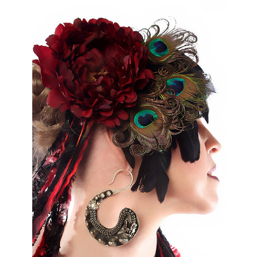 Headpiece Red Passion Pfau