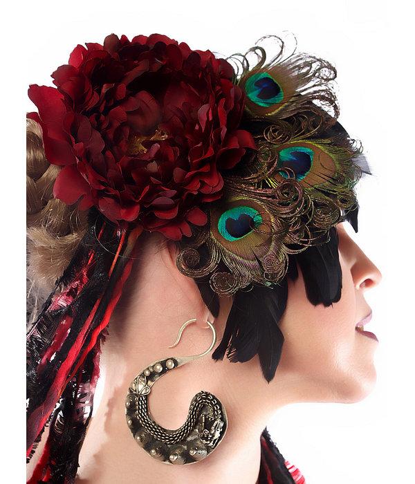 Pfauenfeder Headpiece Red Passion Pfau