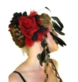 Feather Fascinator Red Passion Burlesque