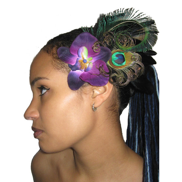 Fascinator Purple Passion Peacock