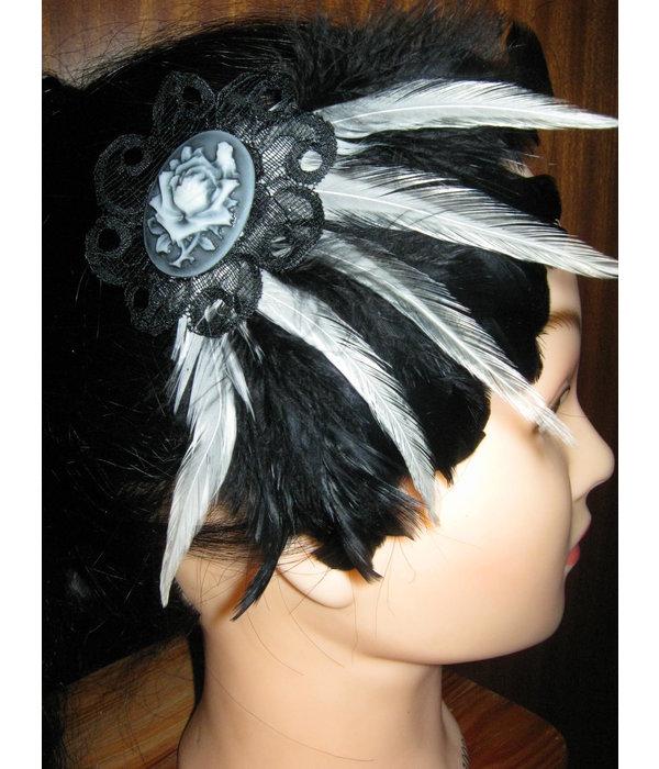 Gothic Feather Fascinator Snow White