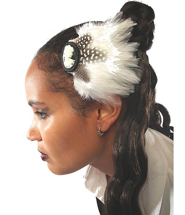 Feather Fascinator Snow White Polkadot