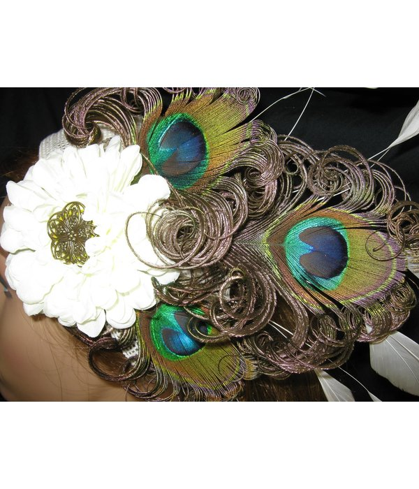 Peacock Feather Headpiece Flora Wedding Peacock