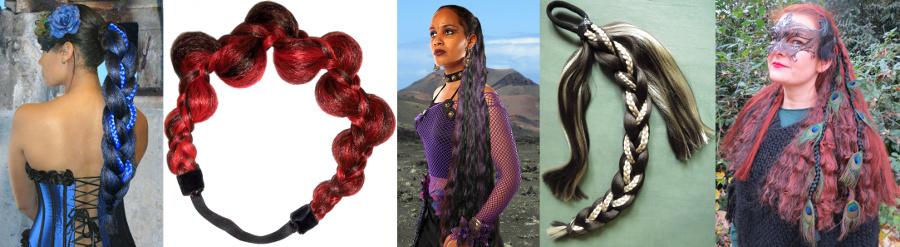 Gothic & Steampunk Haarteile, Pfauenfeder Extensions etc. in jeder Farbe!