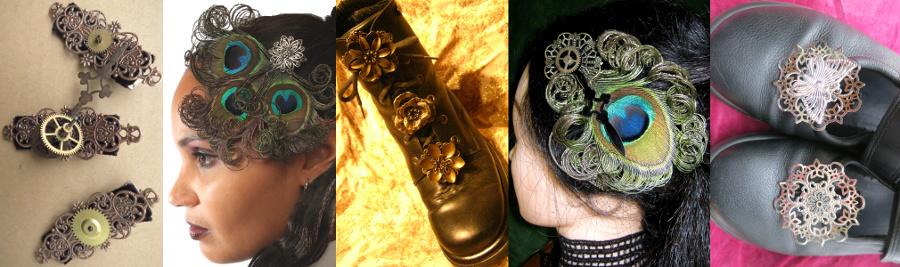 Gothic Haarschmuck, Steampunk Schuhclips, Feder-Fascinators
