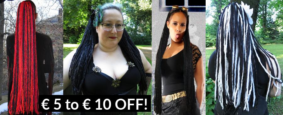 Goth & Steampunk Dread Falls with Discount!