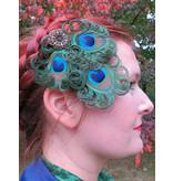 Boho Pfauenfeder Headpiece - altmessing Blüte