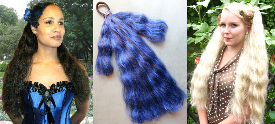 Wavy Goth hair falls in 55 cm/ 22 inches and 90 cm/ 36 inches length!