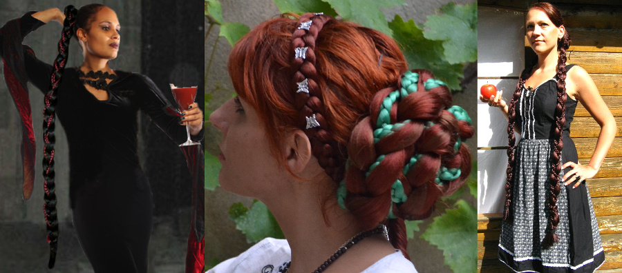 Gothic fantasy braids for Goth & Medieval hair stylings!