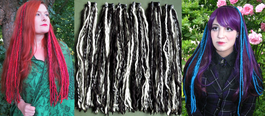 Clip-in dreads extensions in many Goth colors!