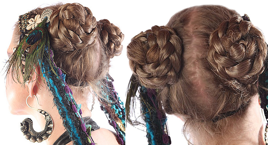 tribal style hair buns made of hair extensions