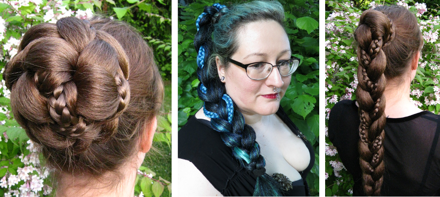 fantasy braid with 2 interwoven braids for a delicate hair bun