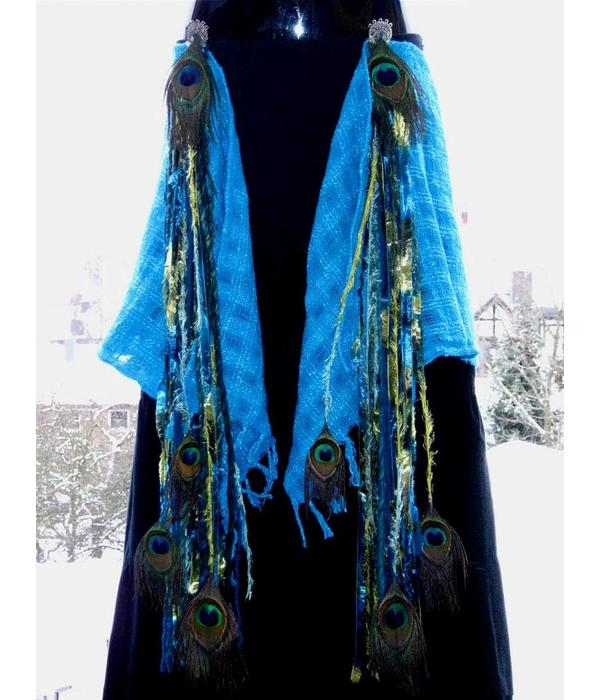 Mermaid Peacock hip & hair tassel clip/ yarn fall
