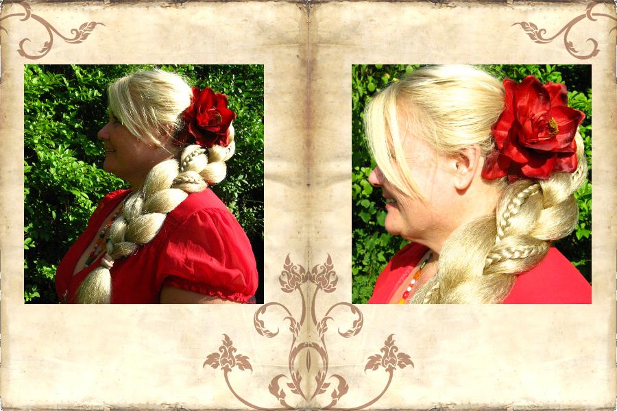 Üppiger XL Fantasy Zopf mit edlen Amaryllis Haarblüten