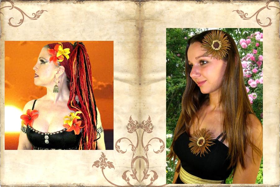 Größere Blumen als Broschen und am Tribal Kostüm