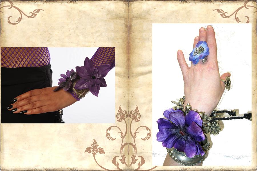 Tribaliger Blumenschmuck an Armreifen und Armspangen