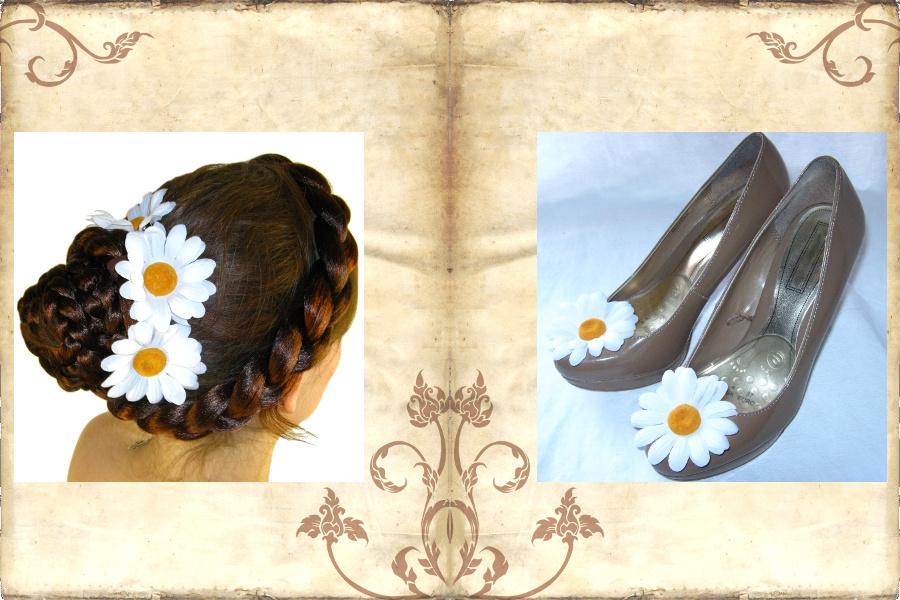 Haarblüten als Schuhclips für Hochzeiten und feierliche Anlässe.