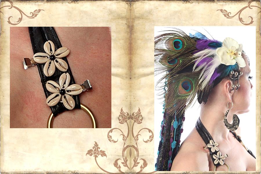 Tribal Fusion Kauri Haarschmuck zur Verzierung am Kostüm.