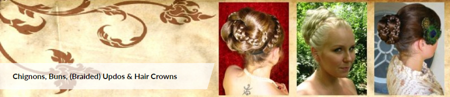 More chignons, buns and braided updos in different styles and sizes!