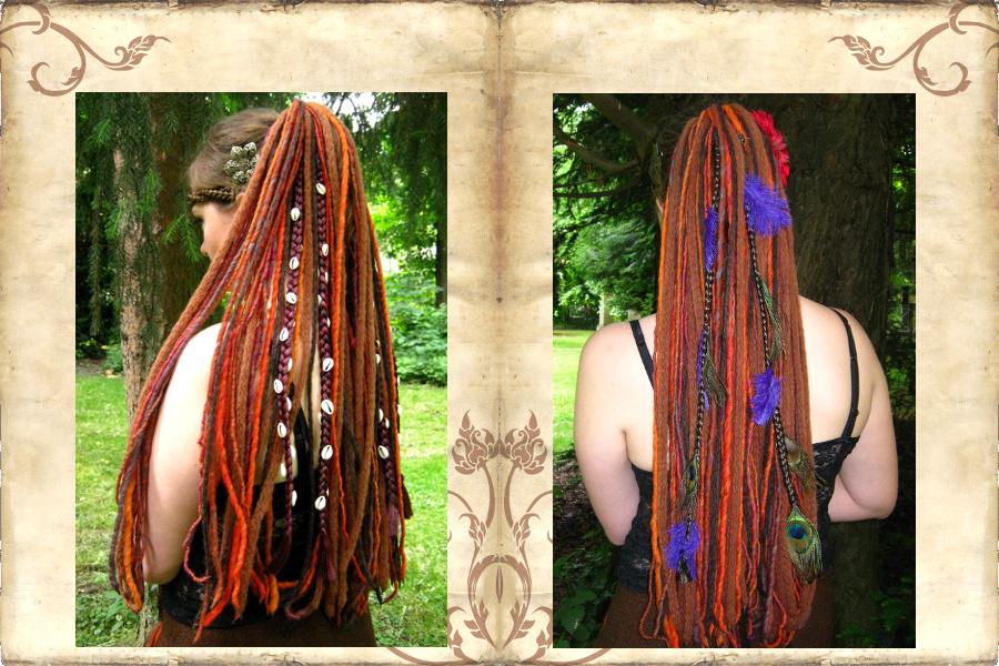 Clip-in Haarteile mit Kauris und Federn für Tribal Fusion Bauchtanz