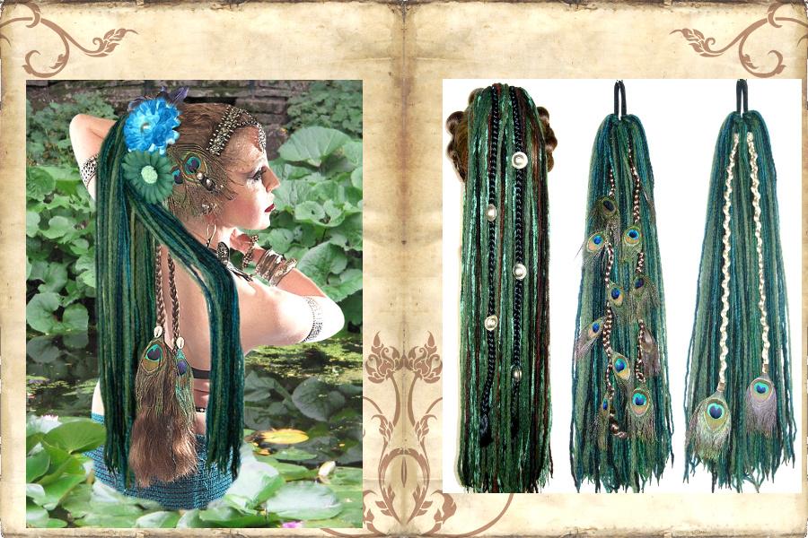 Herausnehmbare Fantasy Clip Haarteile und Pfauenfeder-Extensions