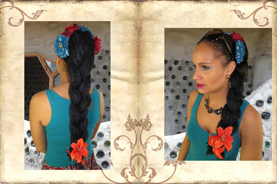 Dreadlocks-Zopf im Bohostil mit Haarblumen