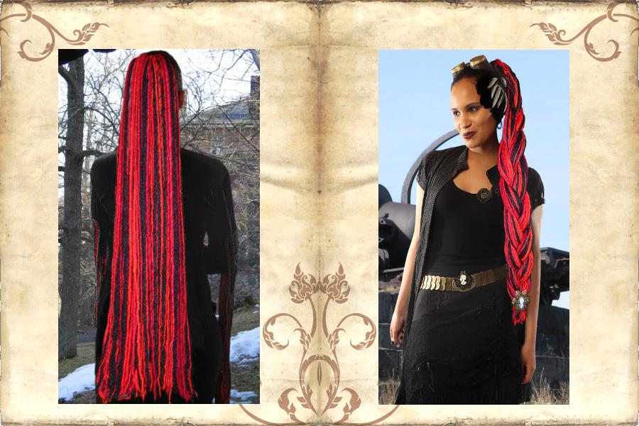 Gothic Witch Dreadlocks in extra lang - offen und als geflochtener Zopf