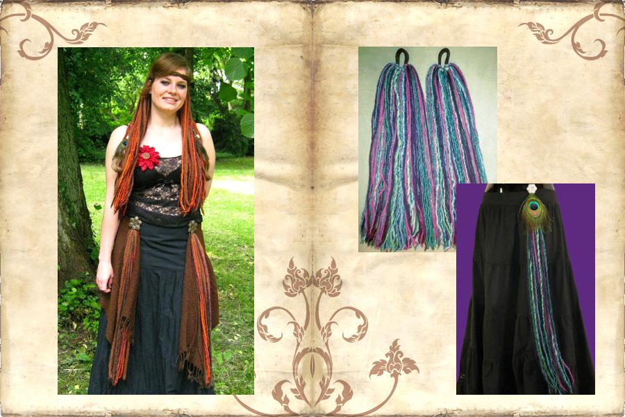 Tribal Fusion Bauchtanz Kostüm: Kombi aus Dreadlocks und Gürtelclips