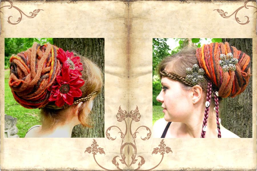 Dreadlocks Dutt - Dreads Haarteil zum Dutt aufgesteckt, mit Haarblumen