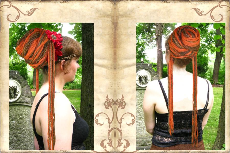 Dreadlocks Dutt aus Dreads Haarteil - lässiger Look mit Dreads-Strähnen