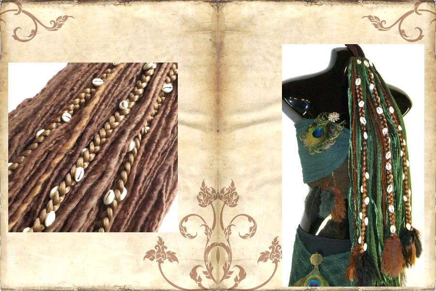 Fantasy Dreadlocks mit festen Zöpfen, Kauris, Federn für Dein Tribal Fusion & Larp Kostüm