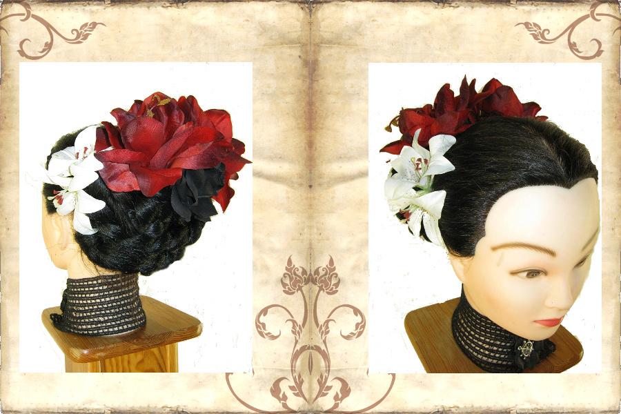 Flechtfrisur mit Hair Garden - üppige Haarblumen als Haarschmuck