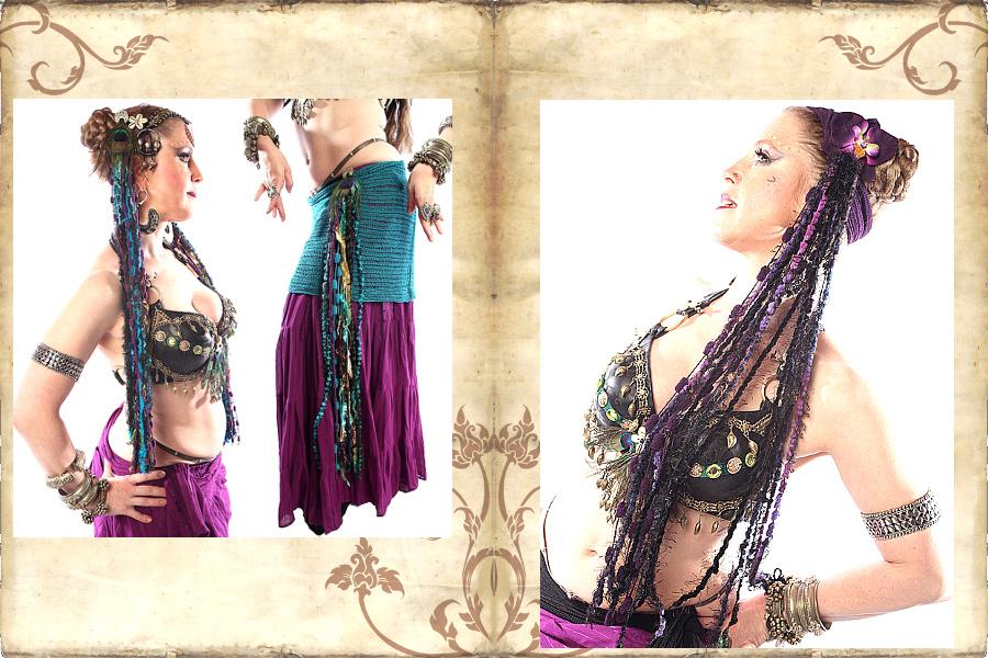 Gürtelclips aus Bändern Tribal Fusion Haarschmuck aus Bändern
