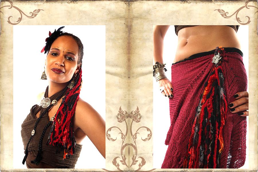 Tribal Fusion Set Bänderhaarteil und Gürtelclips
