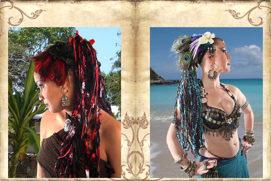 Haarteil aus Bändern Bänderhaarteil für Tribal Fusion Bauchtanz