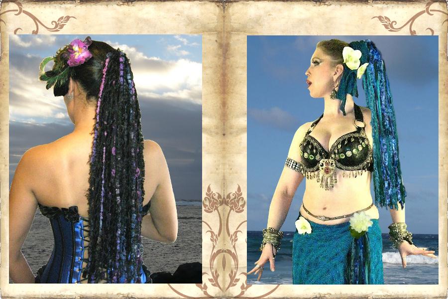Tribal Fusion Haarteil aus Garnen und Bändern