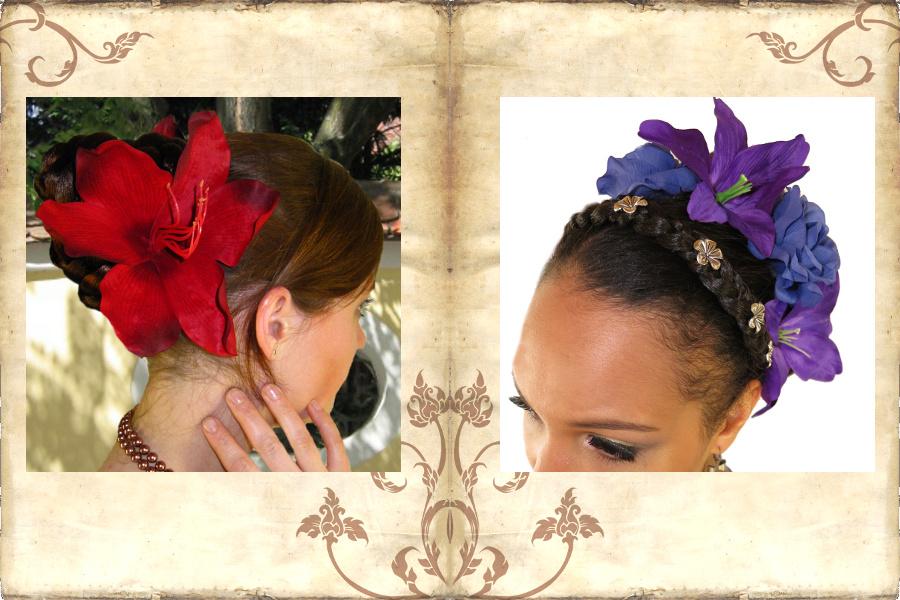 Haarblumen - klassischer Haarschmuck für Bauchtanz und Tribal Fusion