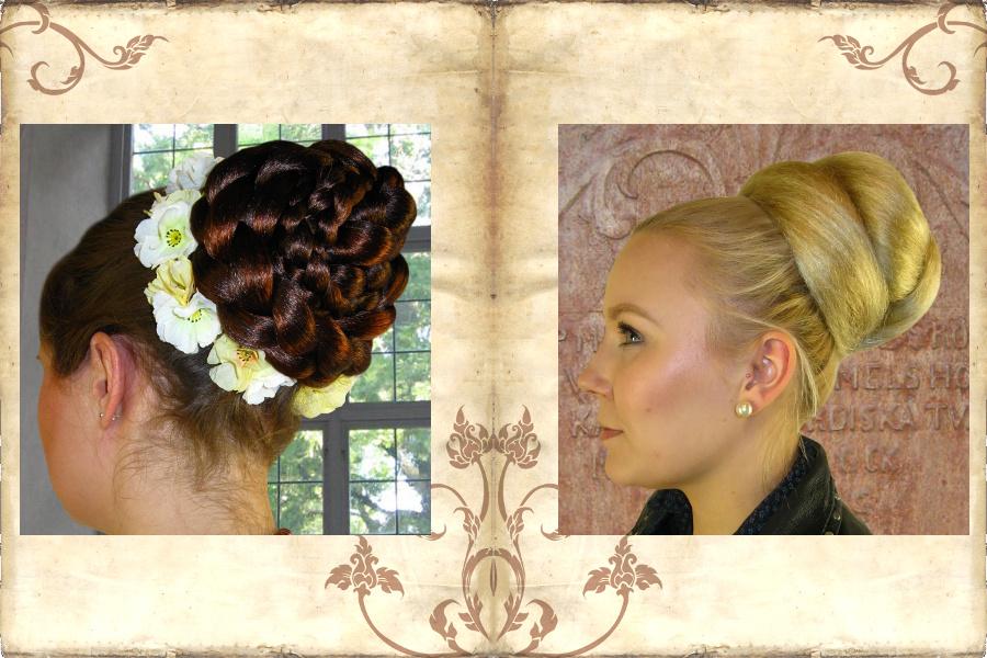 Haarteile geflochtener Dutt & Dutt aus mehreren Lagen aufgesteckt