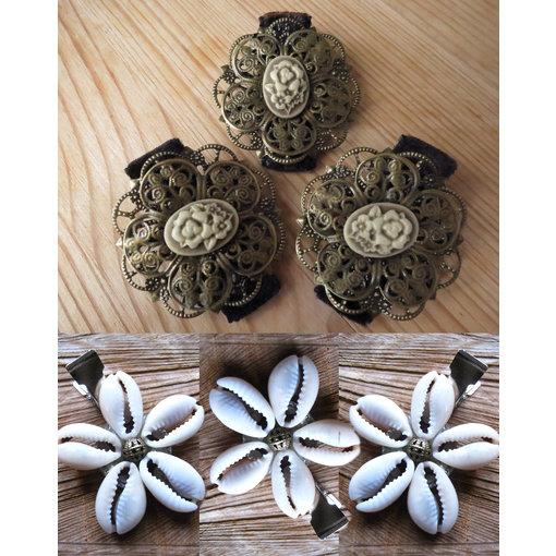 Kauri & Kameen Haarblumen, bronze