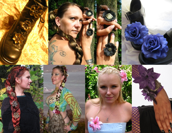 Wear our hair flowers as shoe & bootclips, on rings and armbands, too!