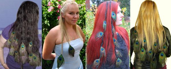Peacock feather extensions look gorgeous in your own, long hair!