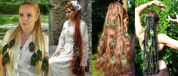 Wear peacock feather extensions in hair falls of synthetic hair or a yarn or dread fall, too!