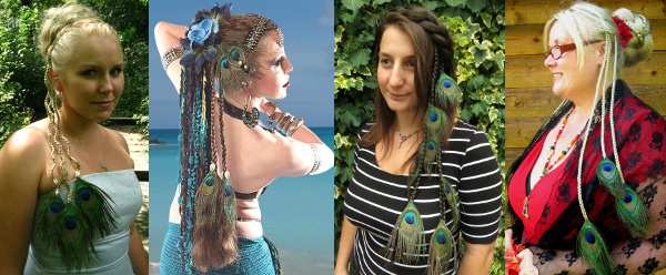 Combine peacock feather hair pieces with a bun updo, a braided headband hair piece or a belly dance yarn or dread fall!