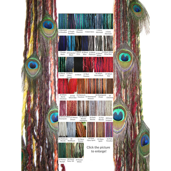Clip-In Peacock Dreadlocks, many colors