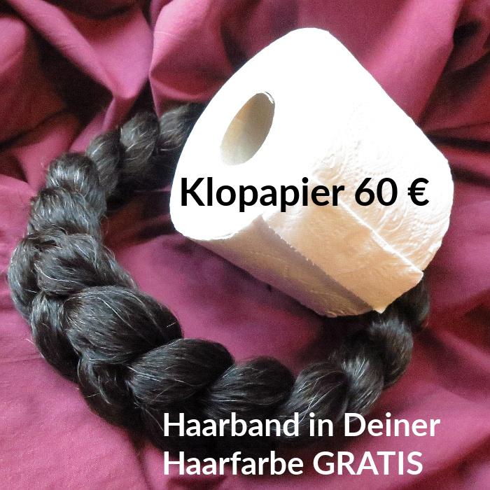 Haarband gratis zum Klopapier