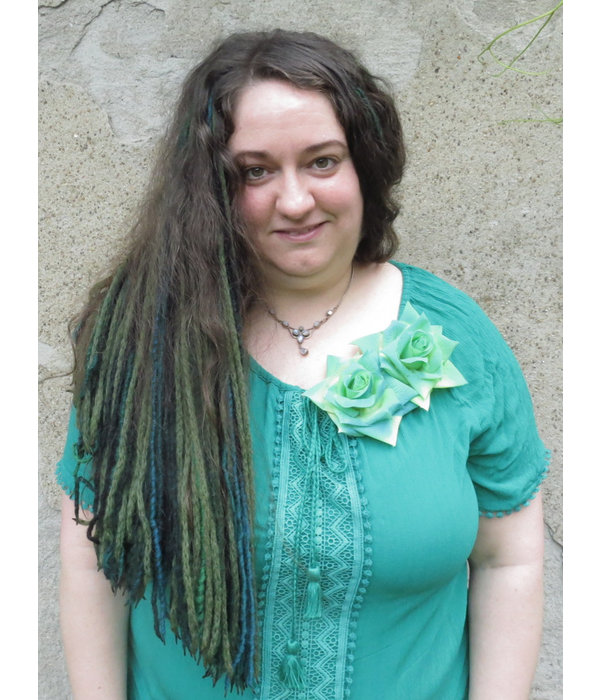 Rose Haarblume türkis grün 2x
