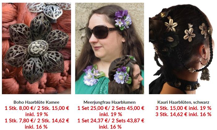 Haarschmuck und Haarblumen mit 19 und 16 % Mehrwertsteuer